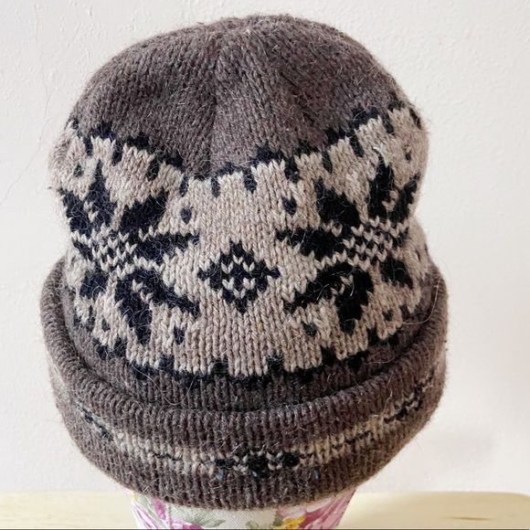 Vintage Accessories - Vintage Fisherman's Cap Fair Isle Wool Like Hat